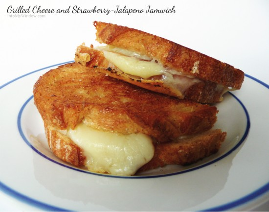 grilled cheese with strawberry-jalapeno jam