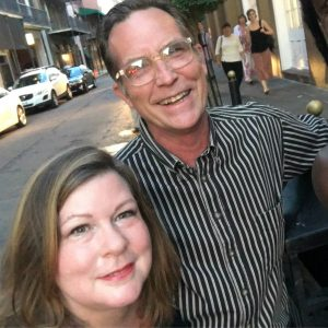Bruce and Karen take a New Orleans pedicab to their anniversary dinner celebration.