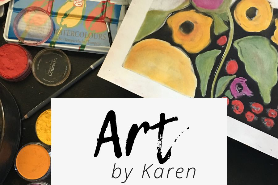 Art by Karen Moody with original art background for Front Page button